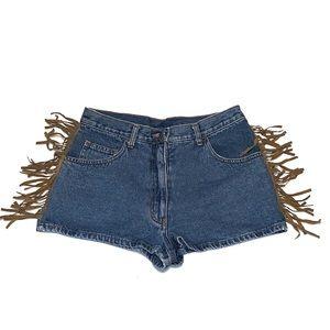 Vintage Boho Suede Fringe Accent Jean Shorts
